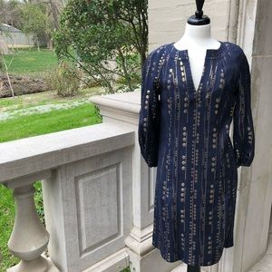 ⭐️[Tory Burch] Navy and Gold Tunic Shift Dress